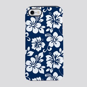 Navy Blue Hawaiian Hibiscus iPhone 8/7 Tough Case